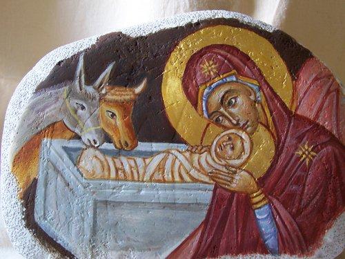 Pittura- presepe su pietra