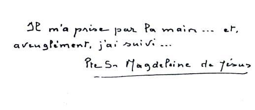 scritta di sorella Magdeleine